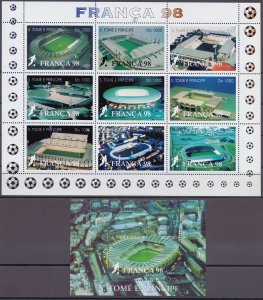 Sao Tome and Principe. 1997. 1756-64 bl373. Soccer world cup. MNH.