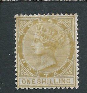 TOBAGO 1880 1s YELLOW-OCHRE MM SG 12 CAT £110