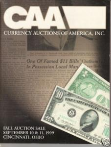 Currency Auctions of America 1999 Coin & Currency Sale