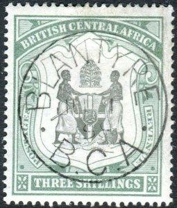 BRITISH CENTRAL AFRICA-1897-1900 3/- Black & Sea-Green. A fine used Sg 49