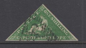 Cape of Good Hope Sc 6, SG 8 used 1858 1sh Hope Seated Triangular, F-VF, scarce