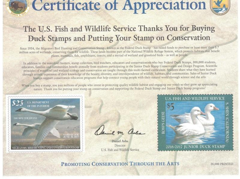 RW83 & JDS24 - Federal & Junior Duck Stamp.Appreciation Card. #02 RW83JDS24APP