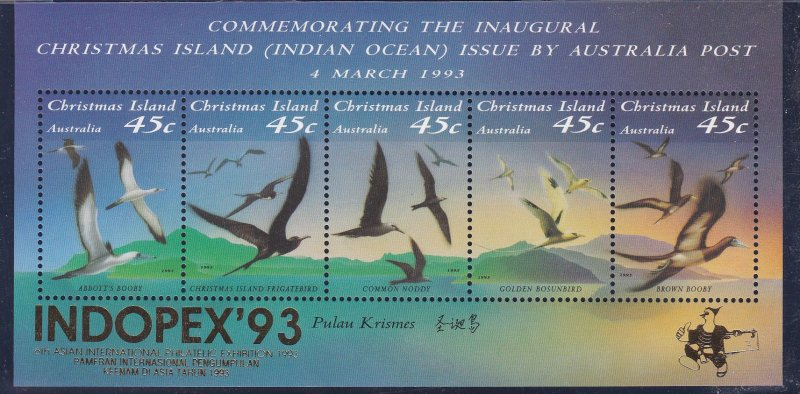 Christmas Island #  349h, Seabirds Overprinted for Indopex  '93, NH, 1/2 Cat.