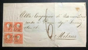 1870s Austria Empire Vintage Letter Cover To Milano Italy