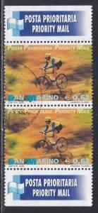 San Marino # 1534, Priority Mail - Bicyclist, Used Pair