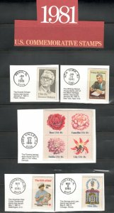 1874-1945 US Postage Commemorative Stamps (1981) In Mounts & Post Marked  MNH