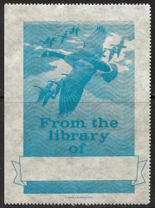 USA 1940s FLYING GEESE OUTDOOR LIFE BOOK CLUB Library Label MNH