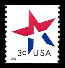 PCBstamps      US #3615 3c Star, coil, MNH, (7)