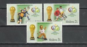 Moldova, Scott cat. 526-528. World Cup Soccer issue.