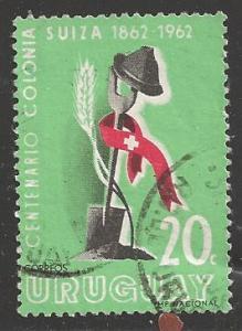 Uruguay 1962 20c Swiss settlement, Scott #690, used