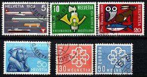 Switzerland #370-75  F-VF Used   CV $2.65  (X1289)