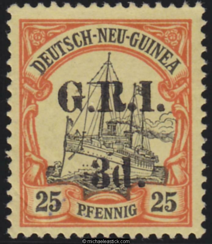 1914 New Guinea 3d GRI overprint on 25pf, SG 22, MH