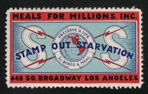 Vintage Meals For Millions Poster Stamp - Stamp Out Starvation - Los Angeles