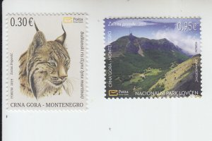 2019 Montenegro Environmental Protection Lynx & Mountains (2) (Scott 445-6) MNH