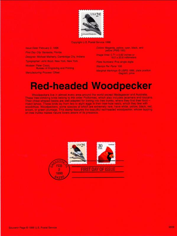 US SP1172 Red Headed Woodpecker 3032 Souvenir Page FDC