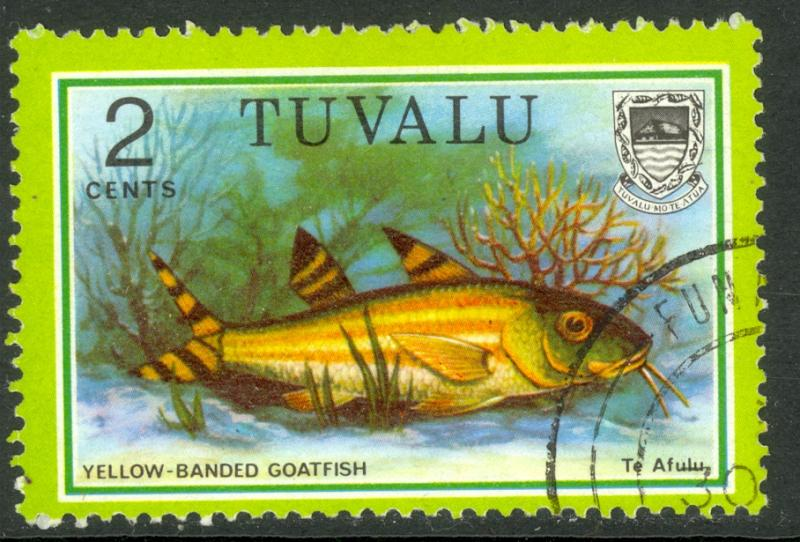 TUVALU 1979 2c Yellow-Banded Goatfish Marine Life Issue Sc 97 VFU