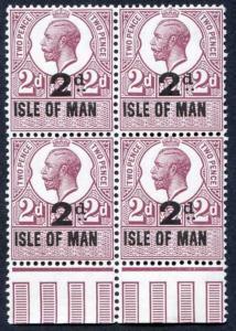 Isle of Man 1921 KGV 2d on 2d Revenue Stamp U/M Block of Four