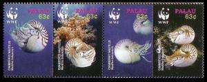 Palau WWF Chambered Nautilus Strip of 4v SG#2153-2156 MI#2530-2533 SC#853 a-d