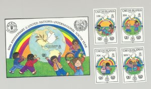 Caicos #65-69 Youth Year, UN, Dove, Rainbows 4v & 1v S/S Imperf Proofs