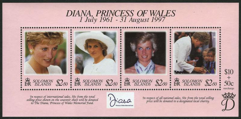 Solomon Islands 867 S/S, MI 963-966 Bl.51, MNH. Diana,Princess of Wales, 1998