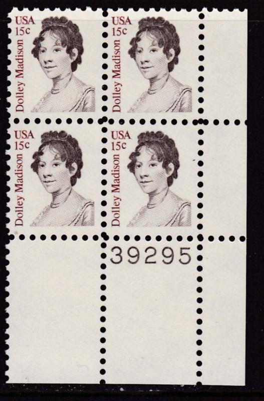 U.S. 1980 15cent Dolley Madison Plate Number Block VF/NH