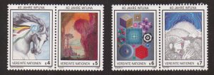 United Nations Vienna  #66a-66d  MNH 1986 WFUNA anniversary  horse`s head  rider
