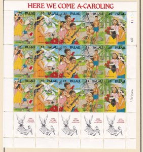 Palau # 253a Christmas - Song Here we come A-Caroling, NH, 1/2 Cat.