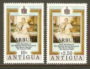 Barbuda #461-2 NH Queen Mother 80th Birthday Ovpt. Barbuda