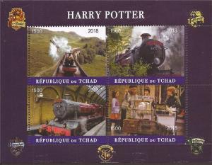 Chad - 2018 Harry Potter Movie - 4 Stamp Sheet - 3B-586
