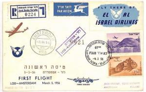 AZ168 1956 ISRAEL AIR Registered *Lod Sofo* FFC Amsterdam {samwells-covers}PTS