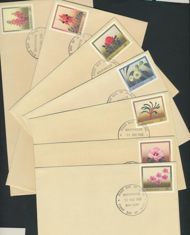 Australia PrePaid Envelopes 1982 7 issued for Flowers of 7 States