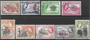 Ghana Independence set of 1957, Gold Coast Overprinted, Scott 5-13 CTO gum NH