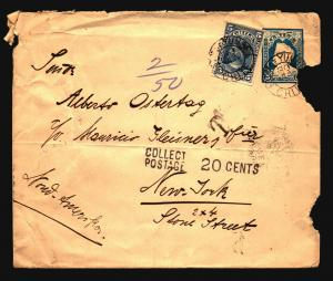 Chile 1901 Uprated Stationery Cover to NY / 10c US Due / Fold Side Damage -Z1467