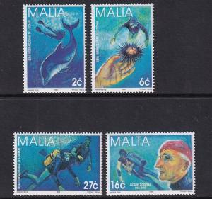 Malta   #946-949  MNH  1998   international year of the ocean  diver  dolphin