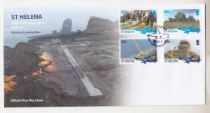 St. HELENA, 2016 Airport Runway Construction Part !!, set of 4 unaddressed fdc.