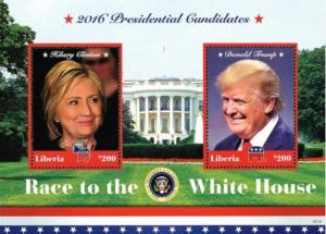 Liberia - 2016 US Election - Trump, Clinton - 2 Stamp Sheet - 12A-060