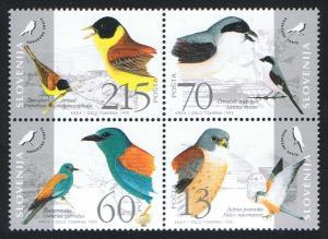 Slovenia Birds 4v Block of 4 SG#264-267 SC#235 a-d
