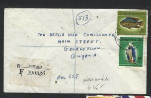 GUYANA  (PP1605B)  1971    FISH 6CX3+BIRD 15C   REG NEW AMSTERDAM TO GEORGETOWN