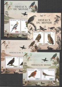 E0465 IVORY COAST 2012 OWLS EAGLES PARROTS BIRDS OF THE WORLD FAUNA 4BL MNH