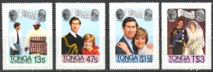 Tonga Sc# 485-488 MNH 1981 Royal Wedding