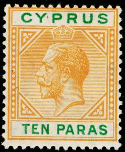 CYPRUS SG85, 10pa orange & green, LH MINT. Cat £13. WMK SCRIPT CA.