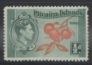 Pitcairn Is. - Scott 1 -Definitives - 1940 - MVLH - Blue Grn & Org- 1/2d Stamp4