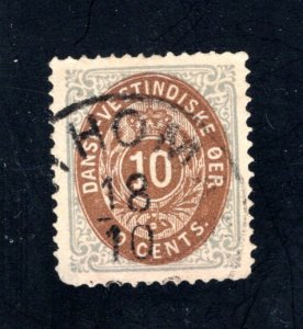 Danish West Indies #10,  VF,  Used  CV $25.00 ....1630010