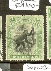 NORTH BORNEO (P0601B) MONKEY  4C GREEN SG98  UNPRICED  USED  VFU