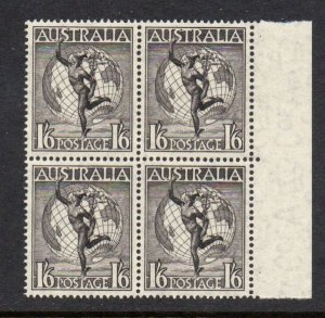 Australia Sc C6 1949 1/6d Mercury Globe airmail stamp block of 4 mint NH
