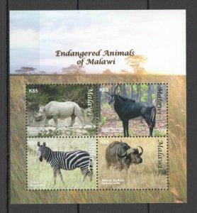 G0705 2009 MALAWI FAUNA ENDANGERED WILD ANIMALS OF MALAWI #802-805 KB MNH