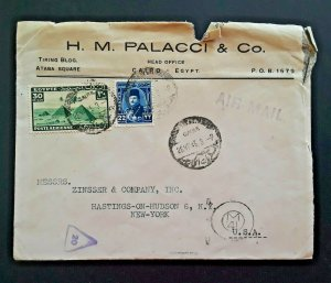 1946 Cairo Egypt To Hastings On Hudson New York Airmail Cover