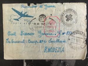 1943 Padova Italy Cover to Southern Rhodesia Prisoner of War POW Camp # 4 w/letr