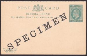 SIERRA LEONE EVII ½d + ½d reply postcards optd SPECIMEN....................67618