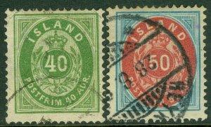 EDW1949SELL : ICELAND 1892 Scott #19-20 Both Very Fine, Used. Catalog $315.00.